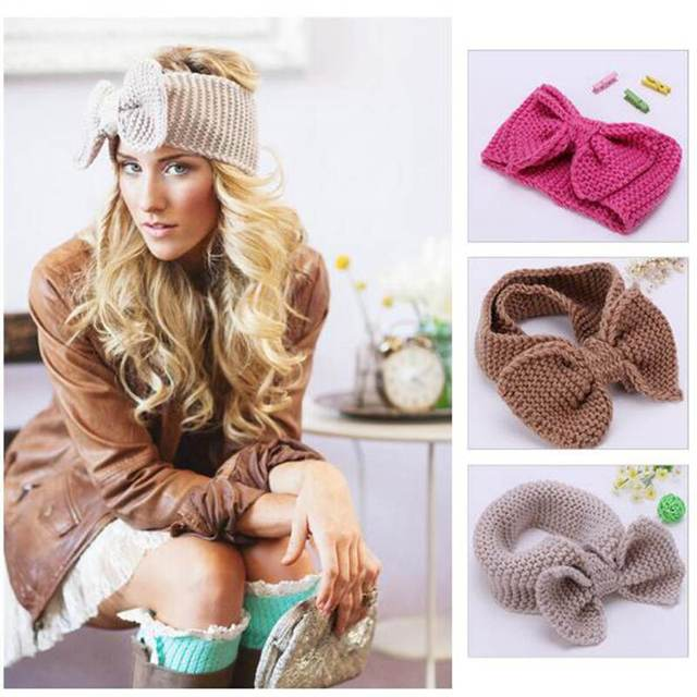 8f251cf37aa New Fashion Knit Women Headband Crochet Big Knot Bow Elastic Turban Girls Head  Wrap Ears Warmer