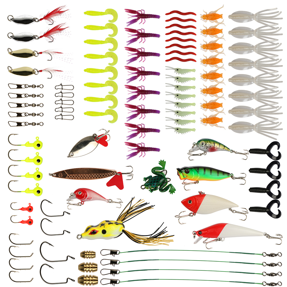 Pisfun 96pcs Fishing Lure Set Kit Minnow Popper Spinner baits Worms Jig Heads Swivels Metal Spoon Lures with Fishing Tackle Box goture 96pcs fishing lure kit minnow popper spinner jig heads offset worms hook swivels metal spoon with fishing tackle box