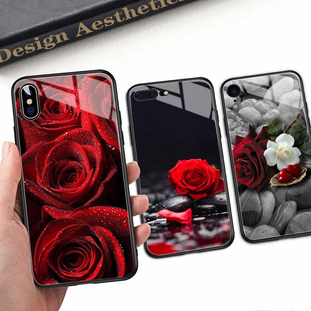 FinderCase for iPhone 6 Case Hard Back Cover Glass Red Rose Floral Case for iPhone 6 6S plus 8 7 plus X XR XS MAX 11 pro max