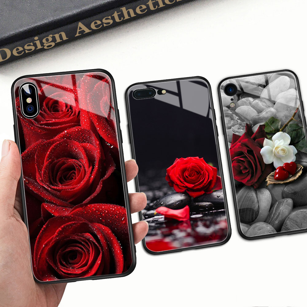 FinderCase for <font><b>iPhone</b></font> 6 <font><b>Case</b></font> Hard Back Cover Glass <font><b>Red</b></font> Rose Floral <font><b>Case</b></font> for <font><b>iPhone</b></font> 6 <font><b>6S</b></font> <font><b>plus</b></font> 8 7 <font><b>plus</b></font> X XR XS MAX 11 pro max image