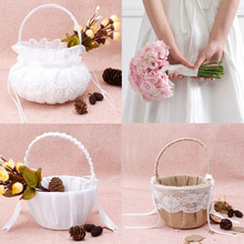 Romantic Bowknot Burlap Satin Wedding Ceremony Party Rose Flower Girl Basket halloween or christmas gift
