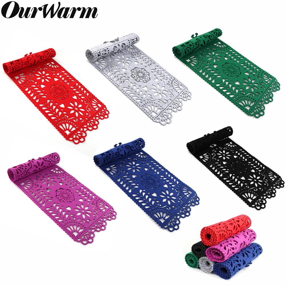 OurWarm Floral Table Runners Modern Felt Cabinet Table Runner Hollow Table Runner 30cm*100cm Wedding Party Home Table Decoration