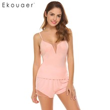 Ekouaer Women Camisoles Top and Shorts Sleep Pajamas Set Lounge Sleepwear Summer Sexy Nightwear Suit Female Night Home Clothes