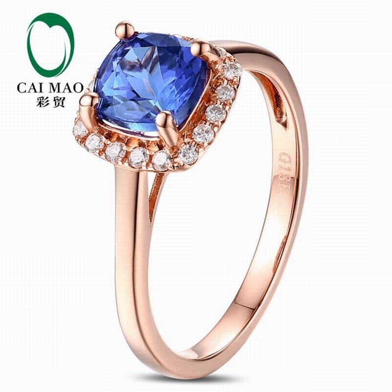 CaiMao 18KT/750 Rose Gold 1.12ct Natural VVS Purplish Blue AATanzanite 0.15ct Full Cut Diamond Engagement Gemstone Ring Jewelry halter floral skirted plus size tankini set