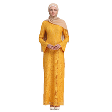 Arab Women Attire Clothes Muslim Female Lace Long Dresses Kaftan Dresses for Party without Scarf