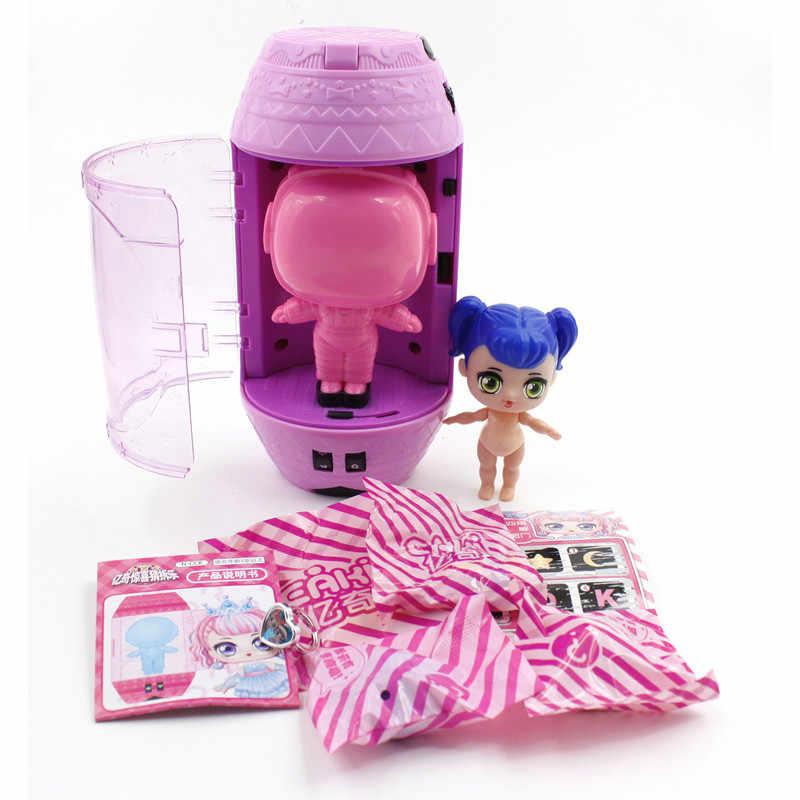 Eaki genuíno diy crianças espaço cápsula brinquedo bonecas lol boneca playmate puzzle brinquedos para crianças aniversário ano novo meninas presentes