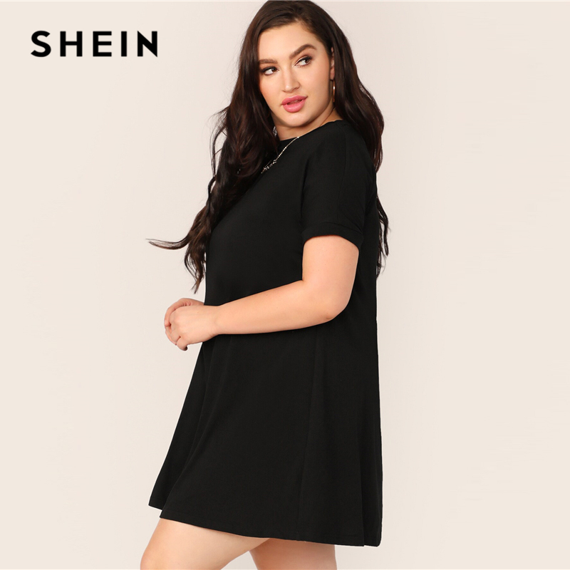 SHEIN Plus Size Black Short Sleeve Swing Dress 2019 Women Spring Summer Solid Casual Shift Round Neck Basics Stretchy Plus Dress 2