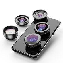 APEXEL 5 ב 1 טלפון מצלמה עדשת ערכת מקצועי HD Fisheye סופר רחב זווית עדשת מאקרו עבור Xiaomi Redmi הערה 5 פרו iPhone X 7S