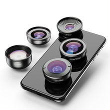 APEXEL 5 in 1 กล้องเลนส์กล้องเลนส์ Professional HD Fisheye Super Wide Angle Macro เลนส์สำหรับ Xiaomi Redmi หมายเหตุ 5 Pro iPhone X 7S