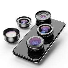 APEXEL 5 in 1 telefon kamera Lens kiti profesyonel HD balıkgözü süper geniş açı makro Lens Xiaomi Redmi için not 5 Pro iPhone X 7S