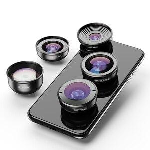 Image 1 - Apexel 5 em 1 kit lente da câmera do telefone profissional hd olho de peixe lente macro super grande angular para xiaomi redmi nota 5 pro iphone x 7 s