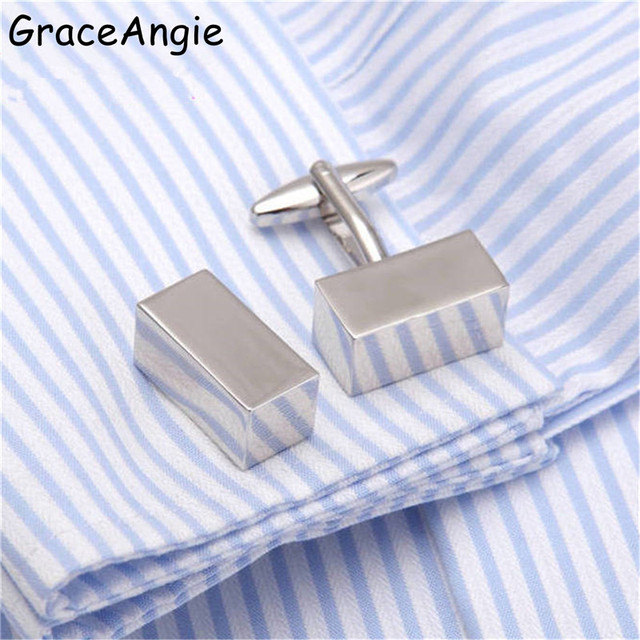GraceAngie Simple Design Male Button Cufflinks Metal Cuff links Brass French Shirt Cufflinks Collar Studs Tie Clips Cufflink Top