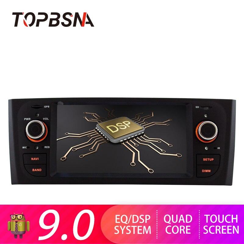 Lecteur multimédia de voiture TOPBSNA 1 Din Android 9.0 pour Fiat Grande Punto Linea 2007-2012 lecteur DVD de voiture miroir-lien 2G + 16G USB RDS