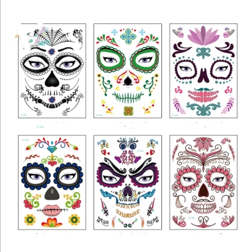 1pc bag Dead Skull Face Halloween Festival Party Supplies Cool Beauty Tattoo Waterproof Temporary Tattoo Stickers New 2018 Set in Party DIY Decorations from Home Garden