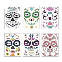 1pc/bag Dead Skull Face Halloween Festival Party Supplies Cool Beauty Tattoo Waterproof Temporary Stickers New 2018 Set