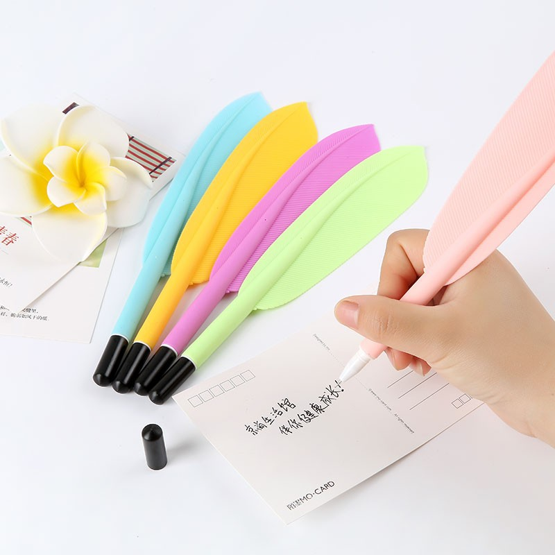 36 Pcs/lot Candy Color Feather Shaped Gel Pen Cute 0.5mm Black Ink Feather Pens for Writing Escolar Office School Supplies 24 pcs lot silicone snail gel pens 0 5mm black ink pen cartoon stationery office school supplies caneta escolar