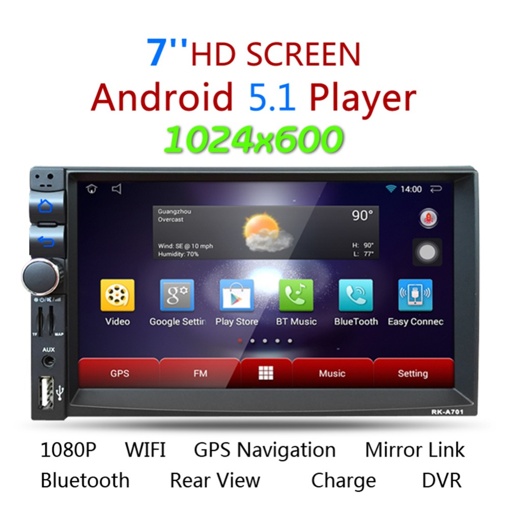 7 YT AR701 Android 5 1 Quad core Car Media Player Bluetooth A2DP Touch Screen GPS