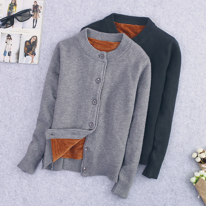 Autumn Winter Knitted Sweater Cardigan Women Coat Plus Velvet Warm Thicken Sweater Coat Long Sleeve Slim Knitted Cardigan Q985