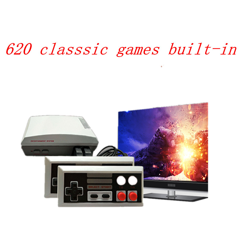Mini Classic dual gamepad TV Game console  handheld home entertainment video game player AV port retro built in 620 classic game