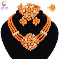 Năm mới Món Quà ~ Hạt Choker Cổ Điển Orange Red Blue Hoa Hồng Châu Phi Nigeria Hạt Trang Sức Set Wedding Party Nữ Hoàng Trang Sức b