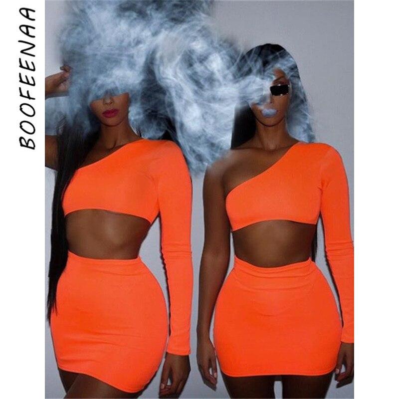 BOOFEENAA Women Neon Bodycon 2 Piece Set Summer 2019 High Street Night Out Club Outfits Matching Short Sets Crop Top Skirt AZ08 Лосины