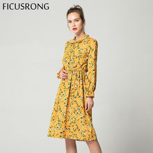 Corduroy High Elastic Waist Vintage Dress A-line Style Women Full Sleeve Flower Plaid Print Dresses Slim Feminino 18 Colors(China)