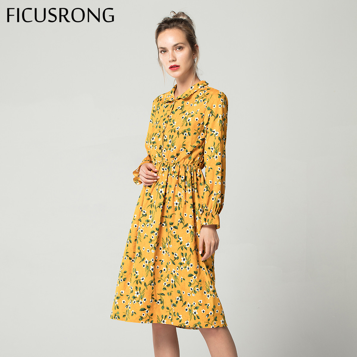 Corduroy High Elastic Waist Vintage Dress A-line Style Women Full Sleeve Flower Plaid Print Dresses Slim Feminino FICUSRONG