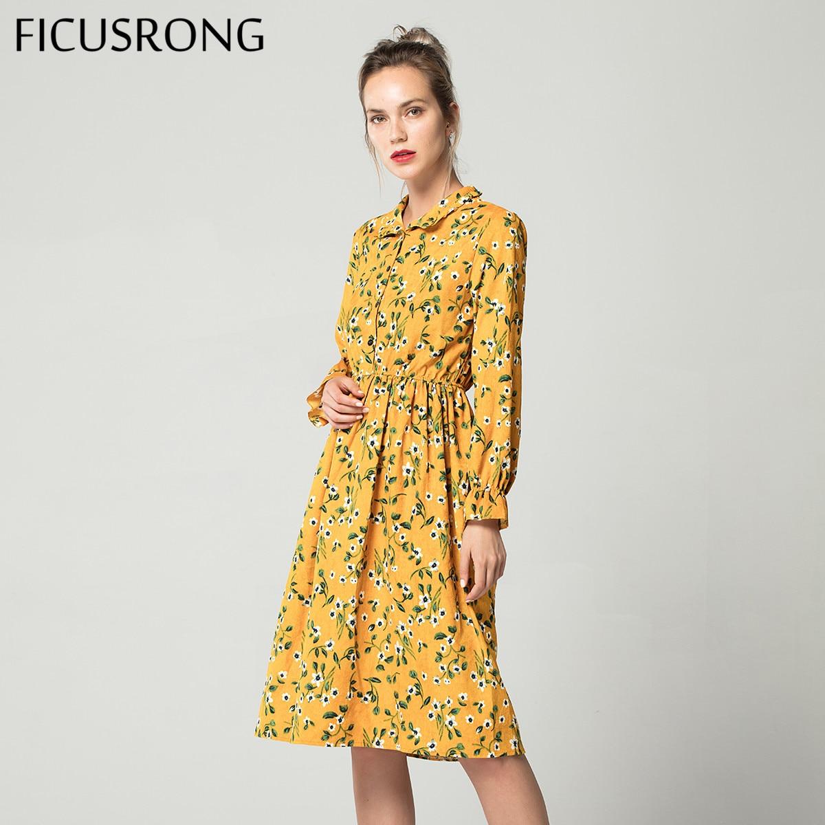 Corduroy cintura elástica alta vestido vintage a line estilo feminino manga cheia flor xadrez vestidos de impressão magro feminino ficusrong