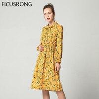 d0d855ac156bf Corduroy High Elastic Waist Vintage Dress A Line Style Women Full Sleeve  Flower Plaid Print Dresses