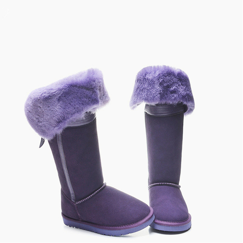 Brand Women Butterfiy- knot Snow Boots Wool Mid-calf Long Snow Boots Winter Warm A Bow Shoes For Sheepskin Australia Boots