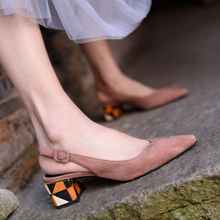 Artmu Original Thick Heels Women Sandals Pointed Toe Genuine Leather Sandals Summer New Sheepskin Middle Heels Handmade Shoes цены онлайн