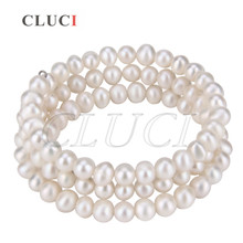 Cluci Регулируемый с серебряным покрытием несколькими рядами Браслет wire wrap Белый Жемчуг Strand браслет Бесплатная доставка