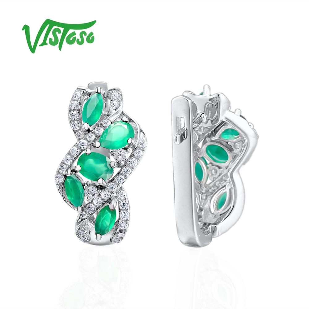 VISTOSO Pear Green Chalcedony 925 Sterling Silver Stud Earrings Jewelry Earrings Natural Green Stones 2018 Fine Stud Earrings-in Earrings from Jewelry & Accessories    3