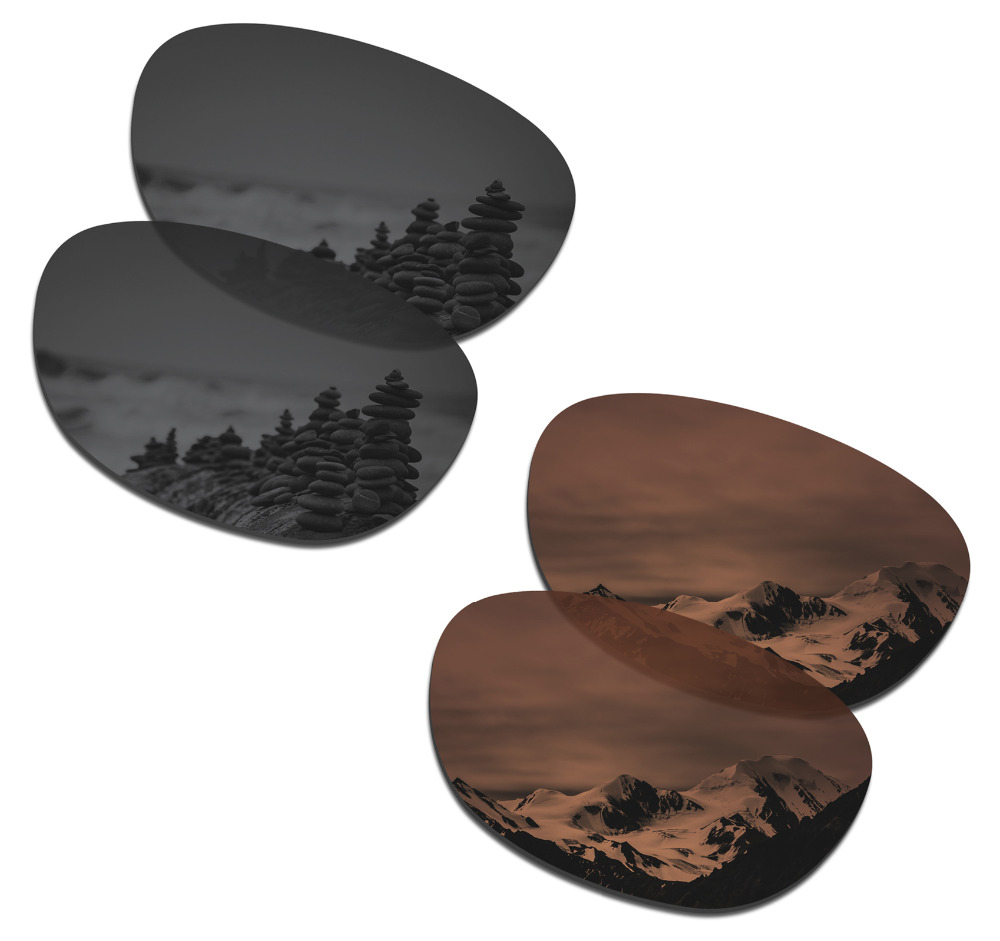 SmartVLT 2 Pairs Polarized Sunglasses Replacement Lenses For Oakley Stringer Stealth Black And Amber Brown