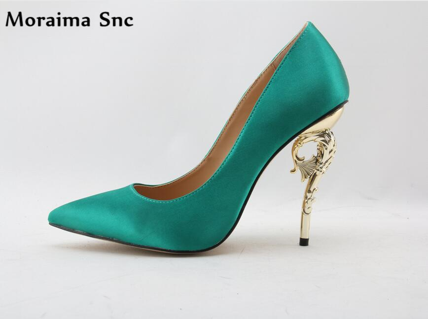 Moraima Snc hot selling sexy pointed toe metal high heel 2018 shoes slip-on woman pumps concise type wedding shoes apoepo women high heel pointed toe slip on sexy pumps nude high heel wedding bride shoes concise style stilettos m063