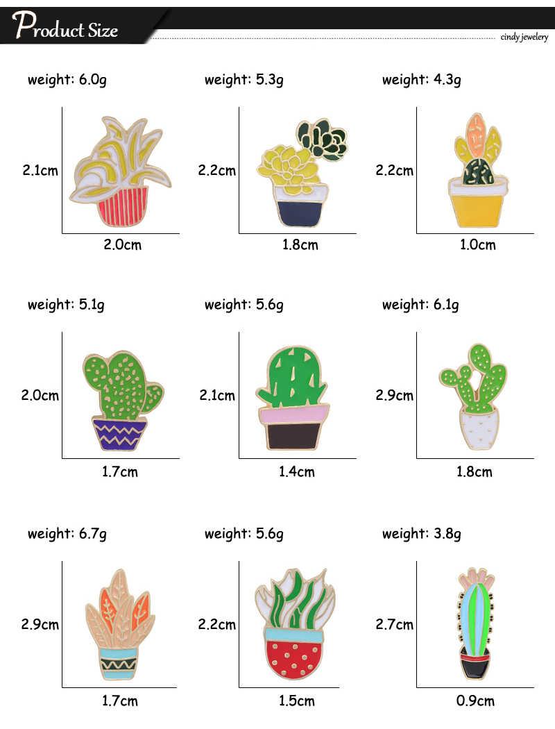 Vendita calda 9 Stile Verde Piante di Rosa Fiore di Cactus Dello Smalto Spilla Spilli Collare Vestiti Cappello Decorazione Spille Pulsante Spille