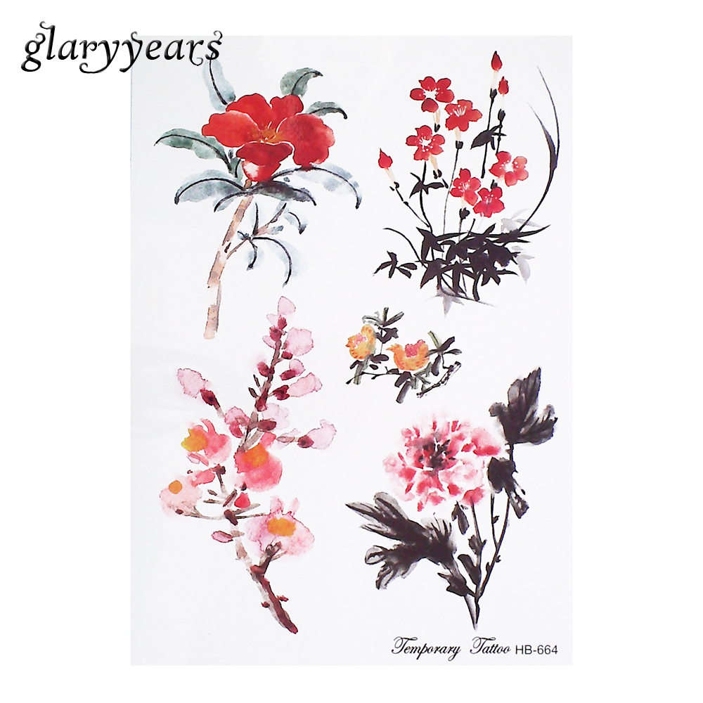ᐅ1 Parça Geçici Dövme Etiket Suluboya şakayık çiçek Wintersweet