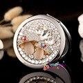 Gravar palavras livre, festa de casamento da dama de honra, presentes de Natal bling da flor do cogumelo, mini beleza maquiagem espelho de bolso compacto