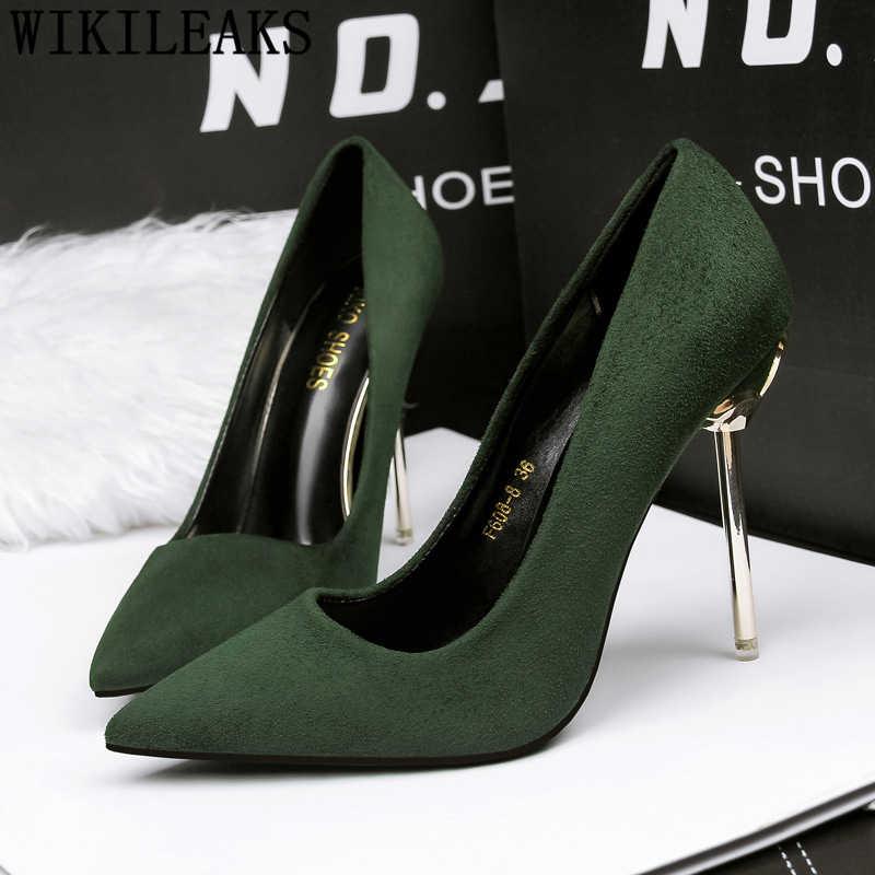Ofis ayakkabı kadın aşırı yüksek topuklu seksi düğün ayakkabı gelin stiletto topuklu tasarım ayakkabı kadınlar lüks 2019 siyah topuklu buty