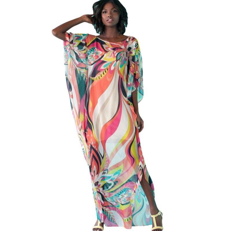 0685aca3e003d Zmvkgsoa Women Maxi Dress Artistic Print Chiffon Dubai Kaftan Beach ...