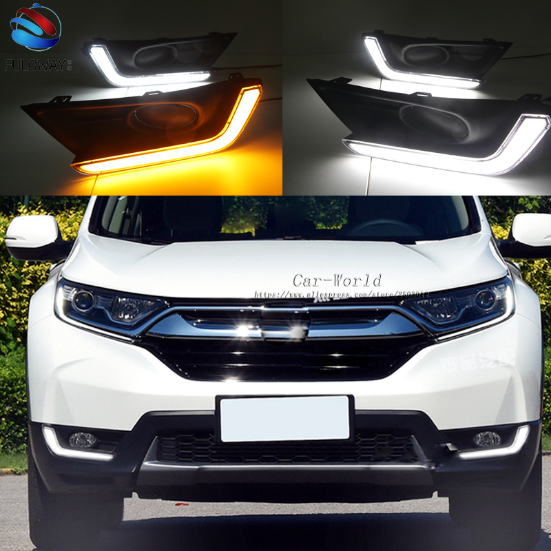 LED DRL Daytime Running Lights Fog Lamp Case For Honda CR-V CRV 2017 2018 Turning External Day Light DRL Accessories Car-styling lsrtw2017 car styling car trunk trims for honda crv 2017 2018 5th generation