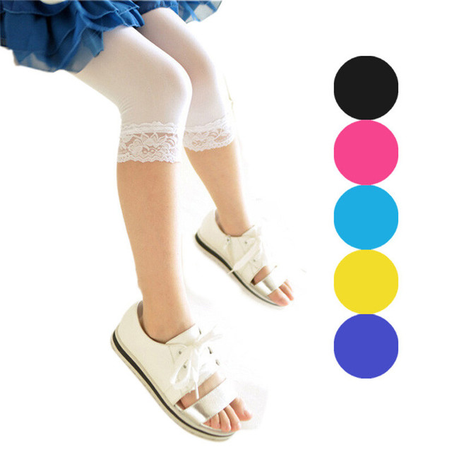 2018  colorful Baby leggings Best seller drop ship  Fashion Cute Children Pair Seven Children Candy Color Lace Leggings S30