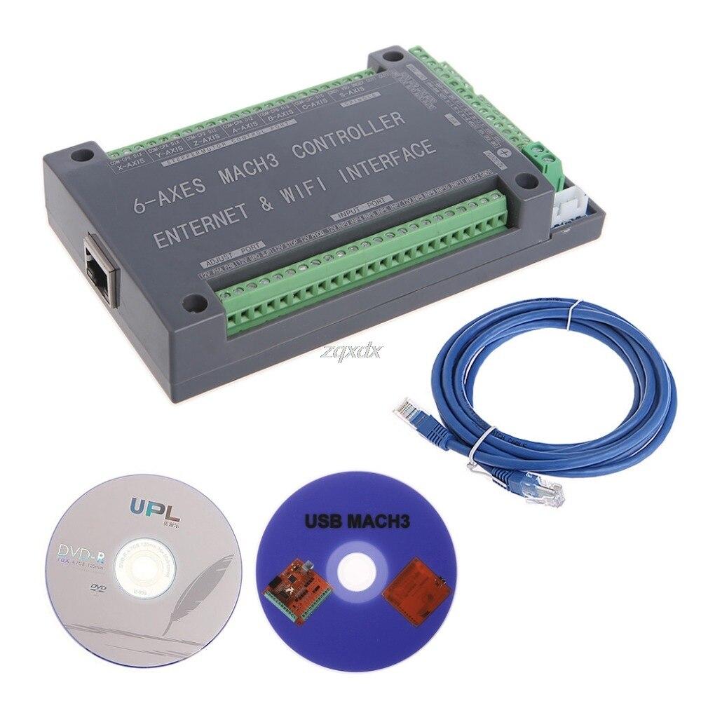 NVUM 6 Axe CNC Contrôleur MACH3 Ethernet Carte D'interface Carte Pour Moteur pas à pas Z10 Drop ship