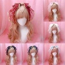 Милая Лолита каваи бант с кружевной отделкой колокольчик подвеска, обруч фея косплей головные уборы застежка для волос KC лента для волос звезды аксессуары для волос