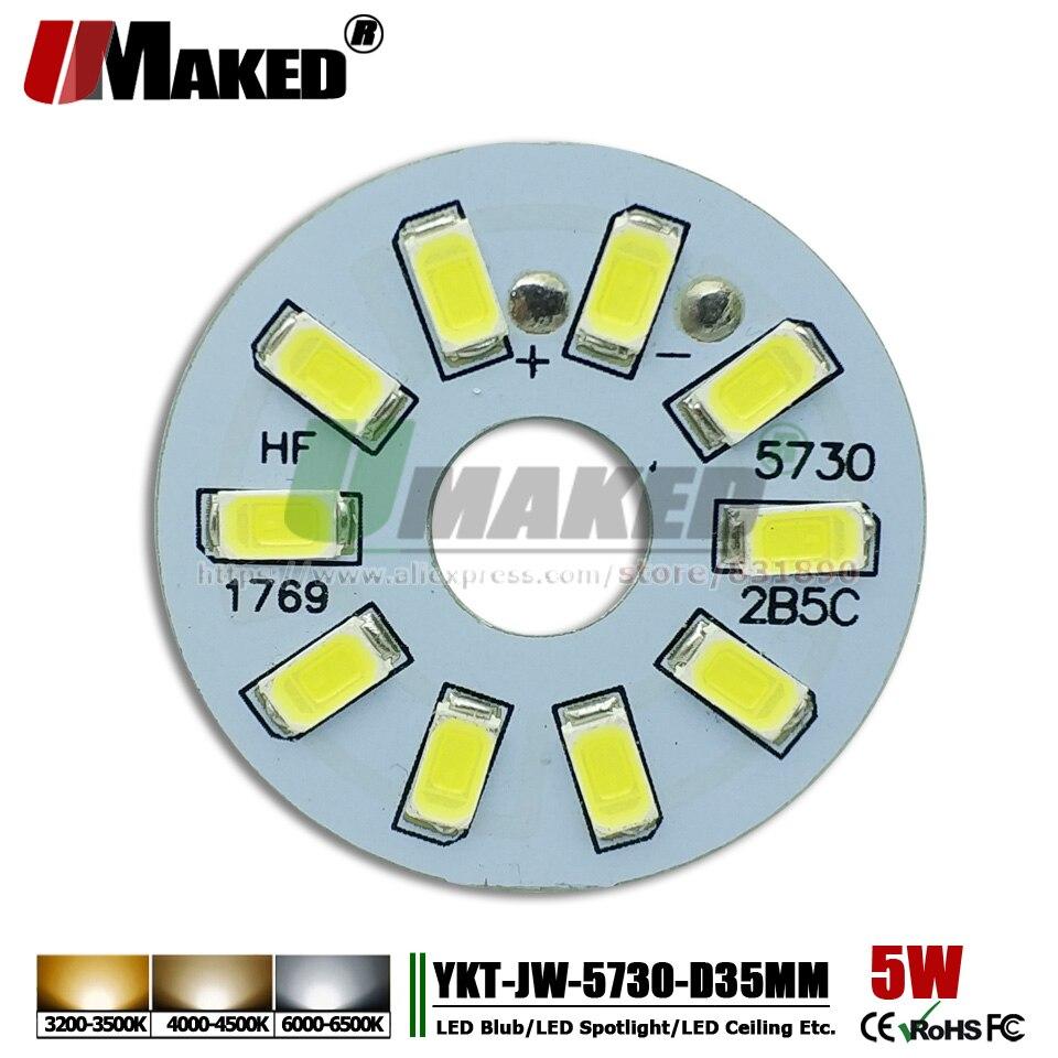 UMAKED 5 w 35mm LED PCB placa de Alumínio placa de LEDs de Luz placa Lâmpada Instalada SMD5730 Quente/Natural/ ceilig luz branca para a Lâmpada