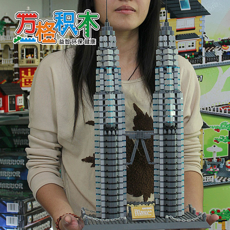 WanGe 8011 Petronas Twin Towers, Kuala Lumpur 1160Pcs Building block Large model DIY Educational Bricks Toys For Children Gift