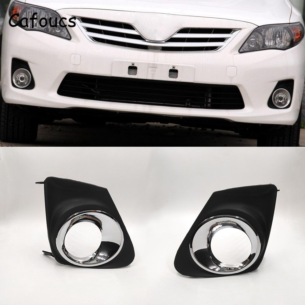 Cafoucs 2Pcs/lot Car Lamp Hood For Toyota Corolla 2011 2012 2013 Front Bumper Fog Light Cover 81481-02190 81482-02190