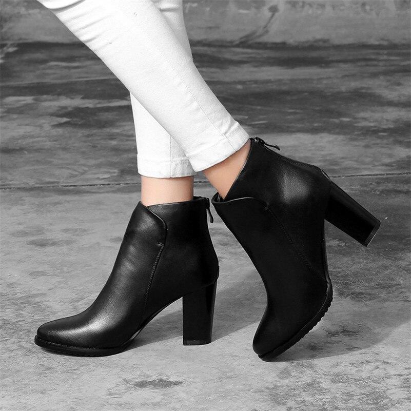 Con Black Para Otoño Bombas Cow Leather Suede black Mujer Cálidos Cremallera Nuevas Conasco Boda Básicas Cuero Genuino Zapatos Invierno Tacón De Fiesta Botas Alto Tobillo wXRORq4A