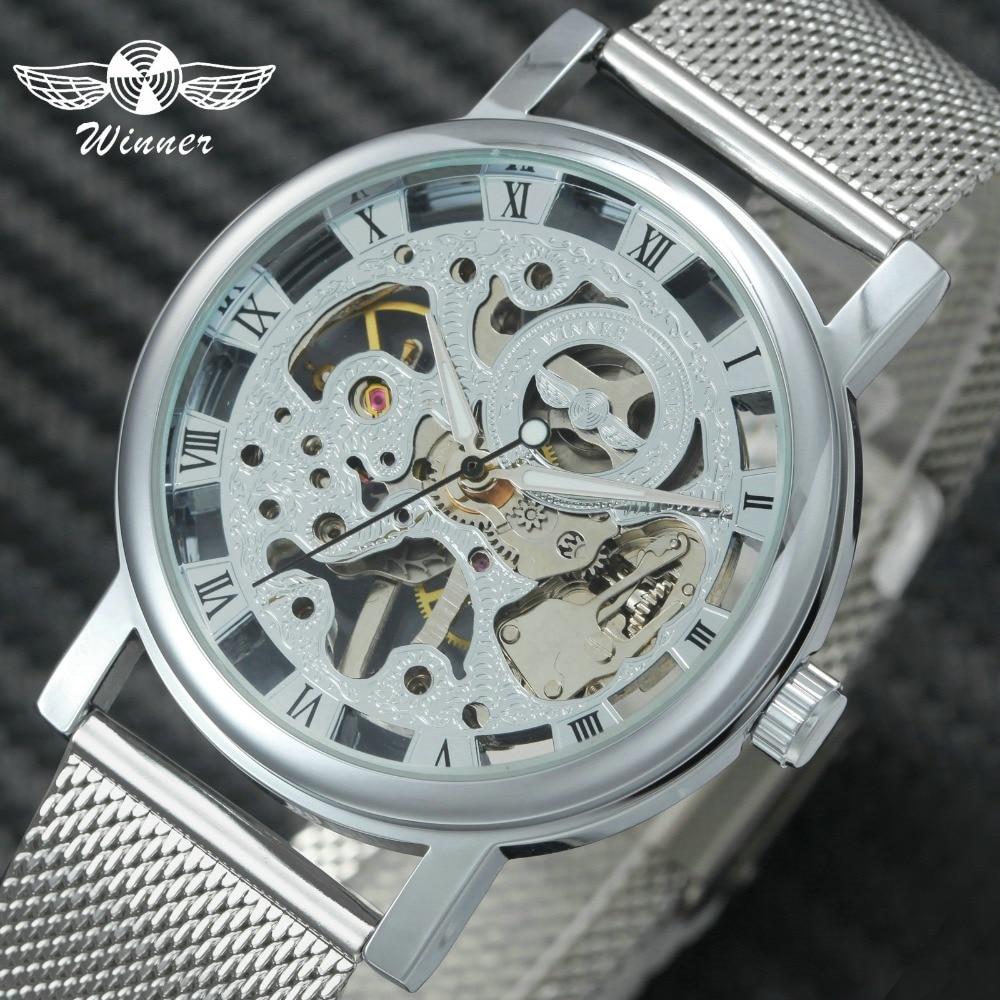 WINNER Fashion Classic Mechanical Women Watches Ultra Thin Mesh Strap Skeleton Dial Top Brand Luxury Ladies Wristwatch For Girls