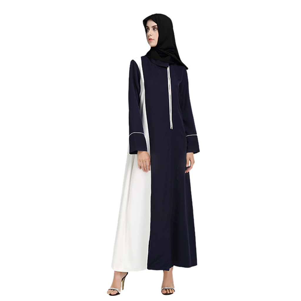 Fashion Muslim dress long sleeve women robe loose skirt Arabic dubai Casual Muslim Abaya Islamic Ramadan Robe Arab Gown 4.19